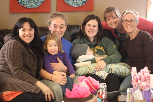 (L-to-R: Jenny, Lily, Lindsey, Henryk, Emily, Megan, and Samm) Some special friends in our lives that brought lunch and gifts to celebrate Emily's birthday.