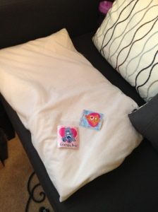 When our hospice nurse would come she always had stickers.  Lily would get to pick one for her and one for Henryk each time.  She would always put his on him.  I went in his rom today and she had put these on the special medical pillow we always used to support his head.